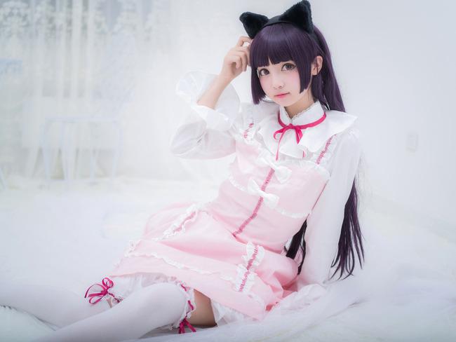 五更琉璃 黑猫 粉色lolita