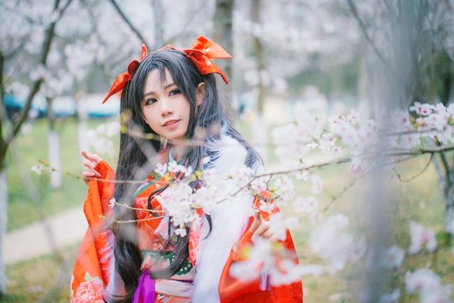 远坂凛 樱花 和服